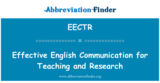 EECTR: Effective English Communication for Teaching and Research