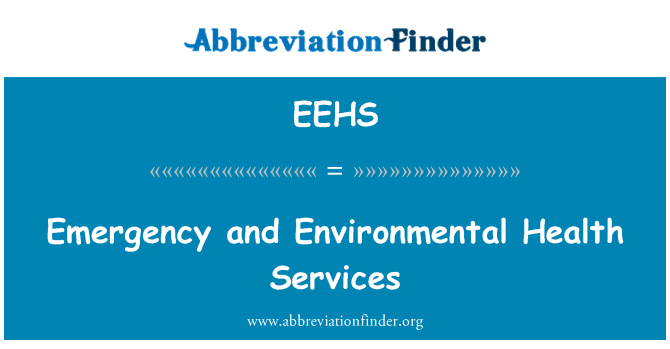 EEHS: Emergency and Environmental Health Services