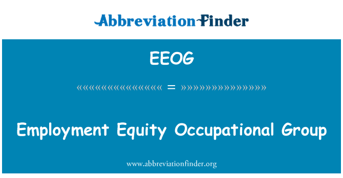 EEOG: Employment Equity Occupational Group