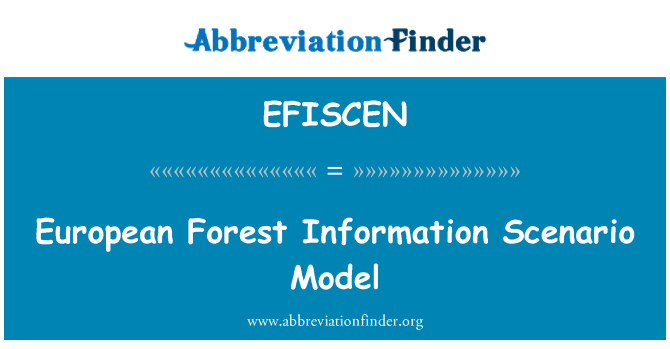 EFISCEN: European Forest Information Scenario Model