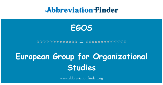 EGOS: European Group for Organizational Studies