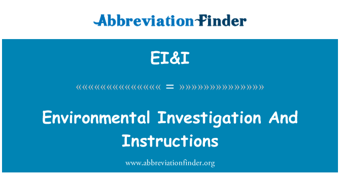 EI&I: Environmental Investigation And Instructions
