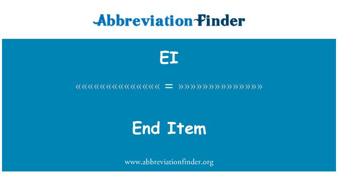 EI: End Item