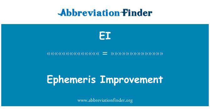 EI: Ephemeris Improvement