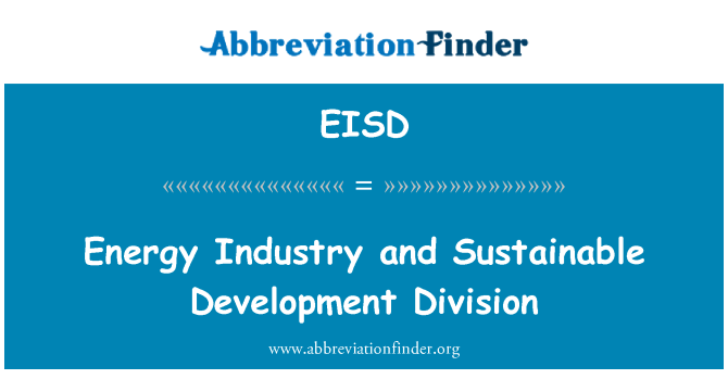 EISD: Energy Industry and Sustainable Development Division