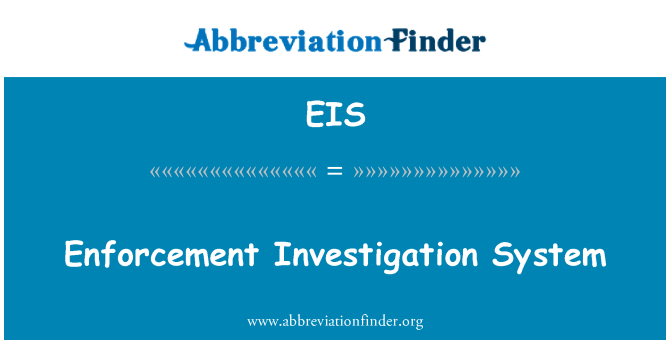 EIS: Enforcement Investigation System