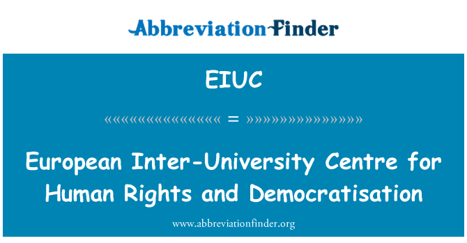 EIUC: European Inter-University Centre for Human Rights and Democratisation