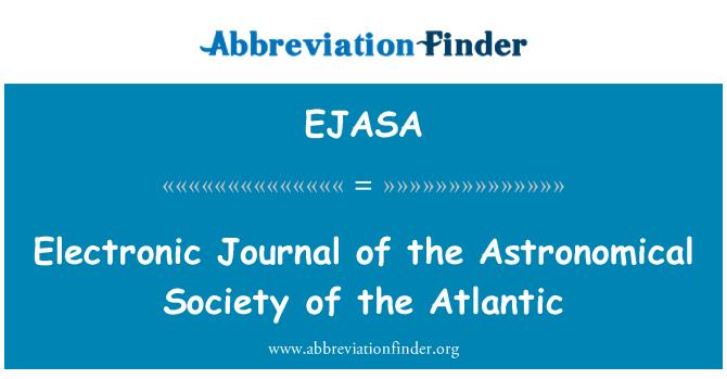 EJASA: Elektronski časopis astronomskog društva na Atlantiku