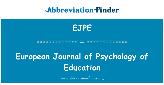 EJPE: European Journal of Psychology of Education