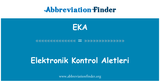 EKA: Elektronik Kontrol Aletleri