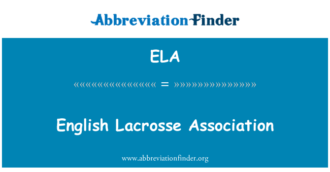 ELA: English Lacrosse Association
