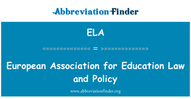 ELA: European Association for Education Law and Policy