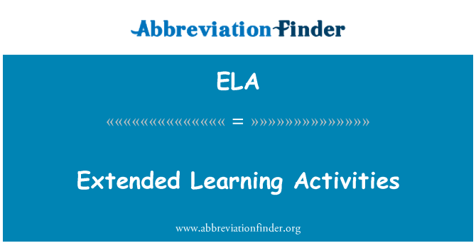 ELA: Extended Learning Activities