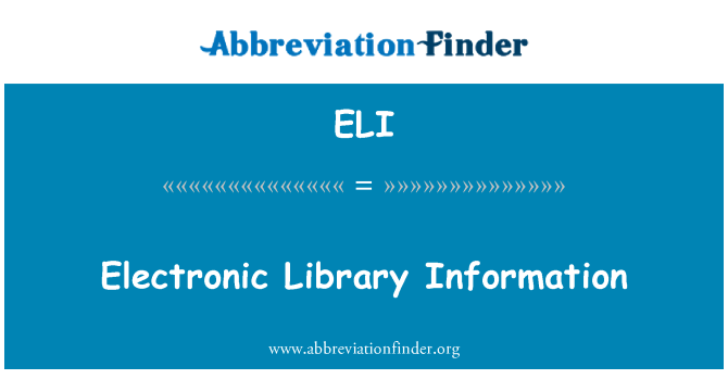 ELI: Electronic Library Information