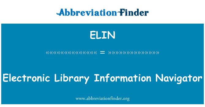 ELIN: Elektronische bibliotheek informatie Navigator