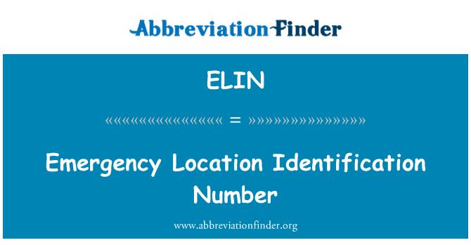 ELIN: Nombor pengenalan lokasi kecemasan