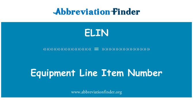 ELIN: ساز و سامان لائن آئٹم نمبر