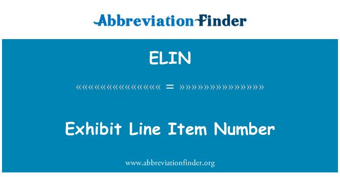 ELIN: لائن آئٹم نمبر کی نمائش