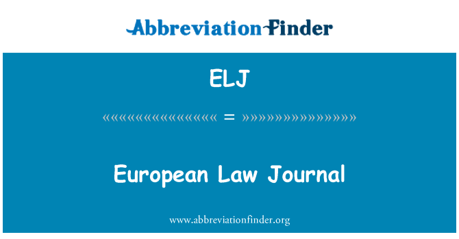 ELJ: European Law Journal