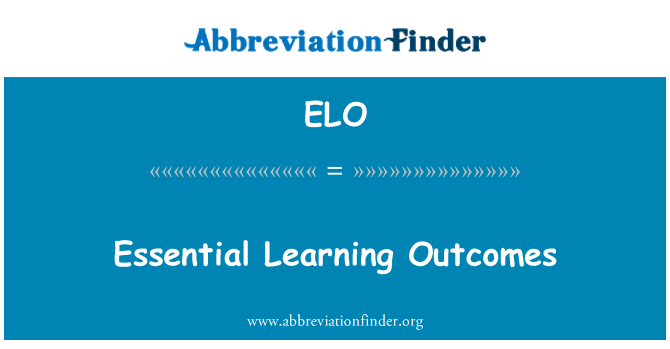 ELO: Essential Learning Outcomes