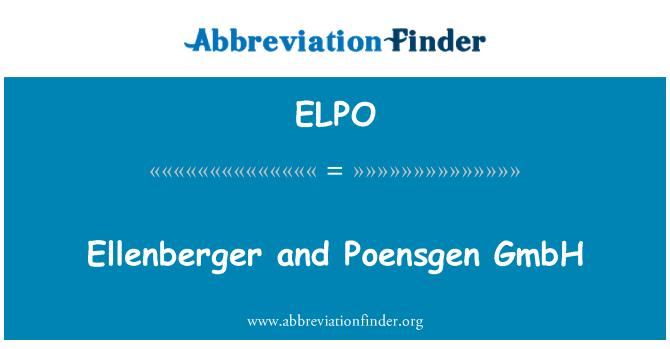ELPO: Ellenberger and Poensgen GmbH