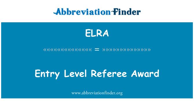 ELRA: Entry Level Referee Award