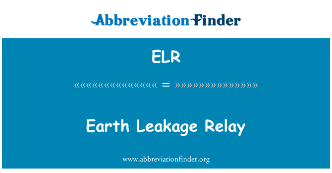 ELR: Earth Leakage Relay