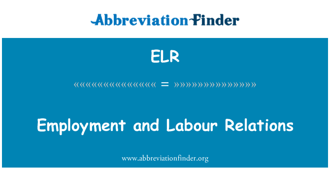 ELR: Employment and Labour Relations
