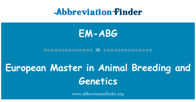 EM-ABG: European Master in Animal Breeding and Genetics