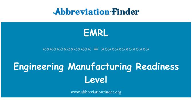 EMRL: Tootmise valmisolekuaste Engineering