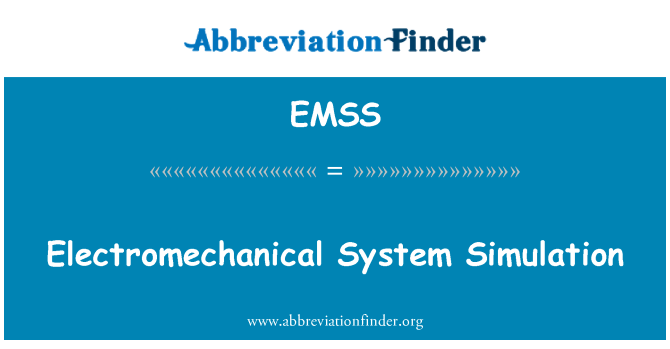 EMSS: Elektromekanik sistem simülasyonu