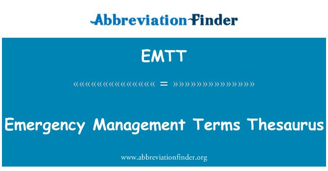 EMTT: Emergency Management Terms Thesaurus
