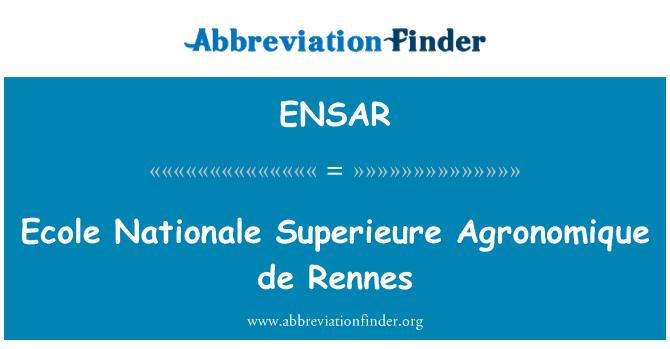 ENSAR: Ecole Nationale Superieure Agronomique de Rennes