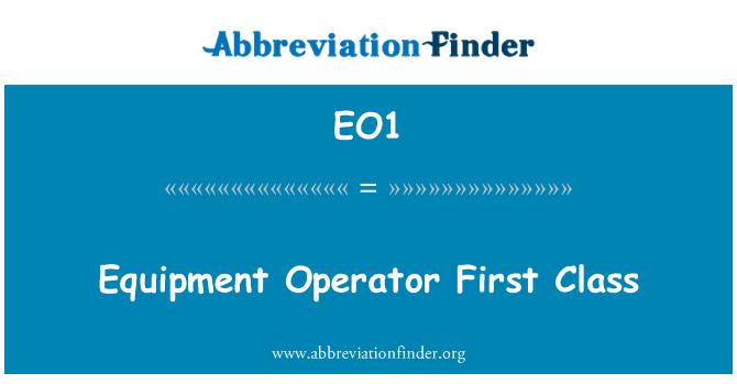 EO1: Equipment Operator First Class
