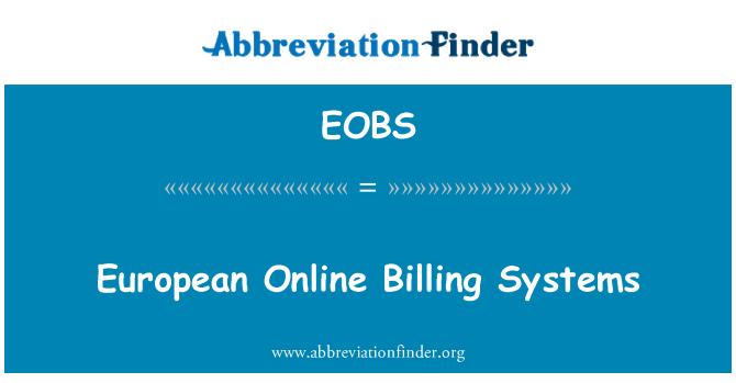 EOBS: European Online Billing Systems