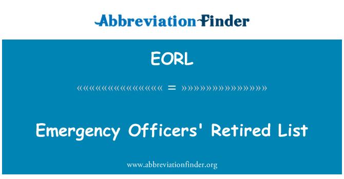 EORL: Emergency Officers' Retired List