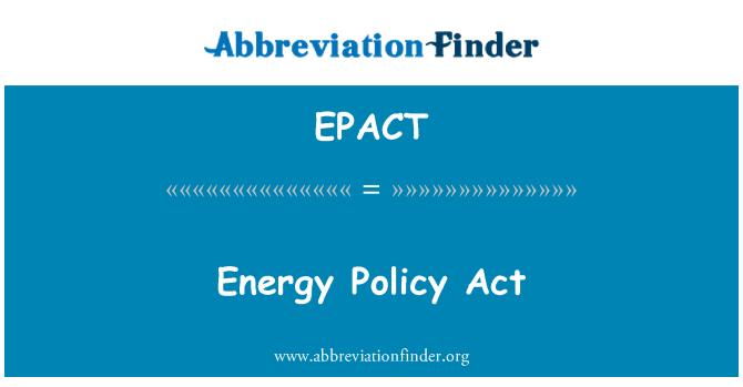 EPACT: Ley de política energética