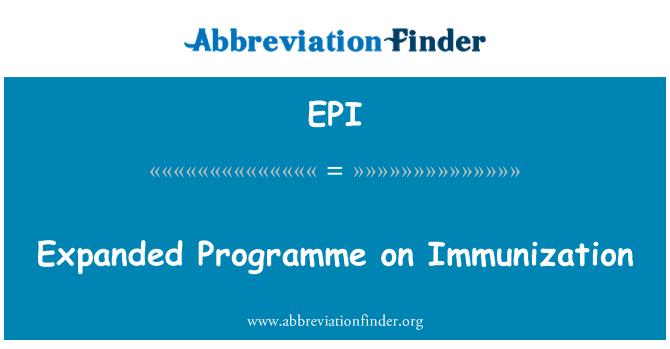 EPI: Expanded Programme on Immunization