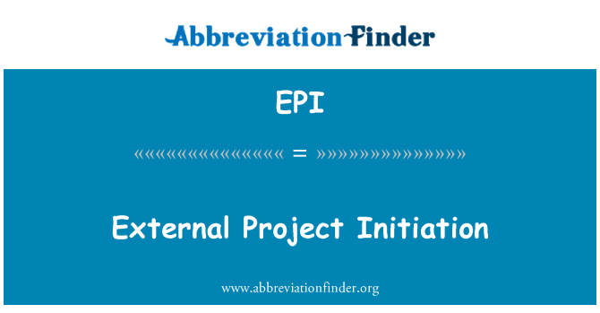 EPI: External Project Initiation
