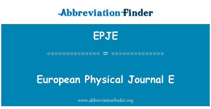 EPJE: European Physical Journal E