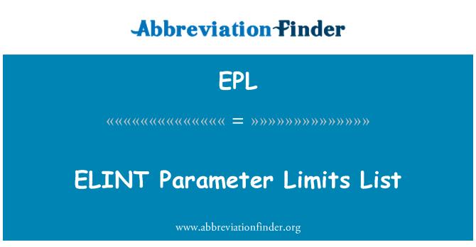 EPL: ELINT Parameter Limits List