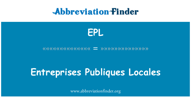 EPL: Entreprises Publiques Locales