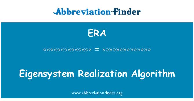 ERA: Eigensystem Realization Algorithm