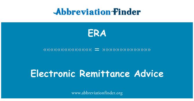 ERA: Electronic Remittance Advice