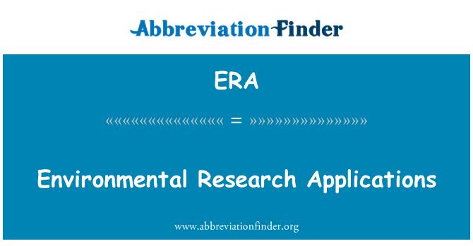 ERA: Environmental Research Applications
