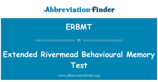 ERBMT: Extended Rivermead Behavioural Memory Test