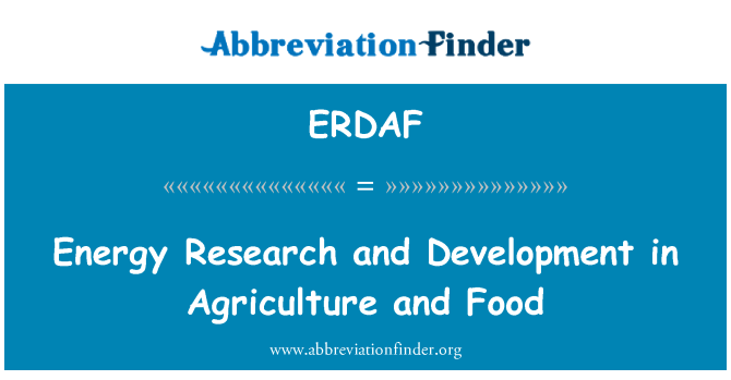 ERDAF: Energy Research and Development in Agriculture and Food