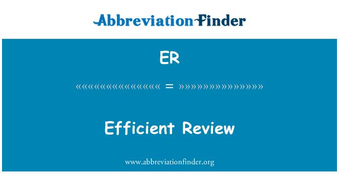 ER: Efficient Review