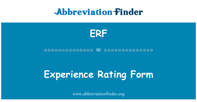ERF: Experience Rating Form