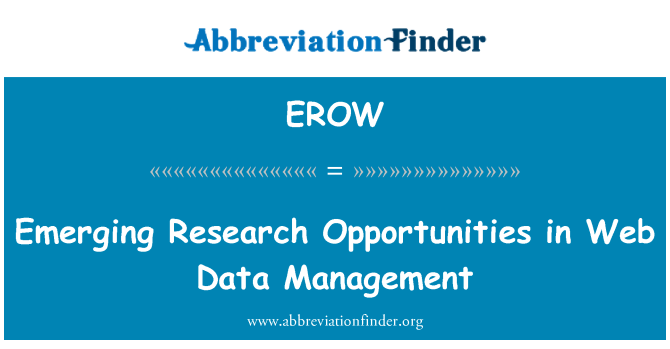 EROW: Emerging Research Opportunities in Web Data Management